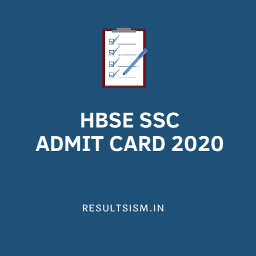 HBSE SSC ADMIT CARD 2020