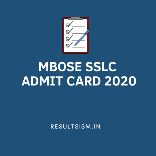 MBOSE SSLC ADMIT CARD 2020
