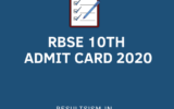 RBSE 10th ADMIT CARD 2020